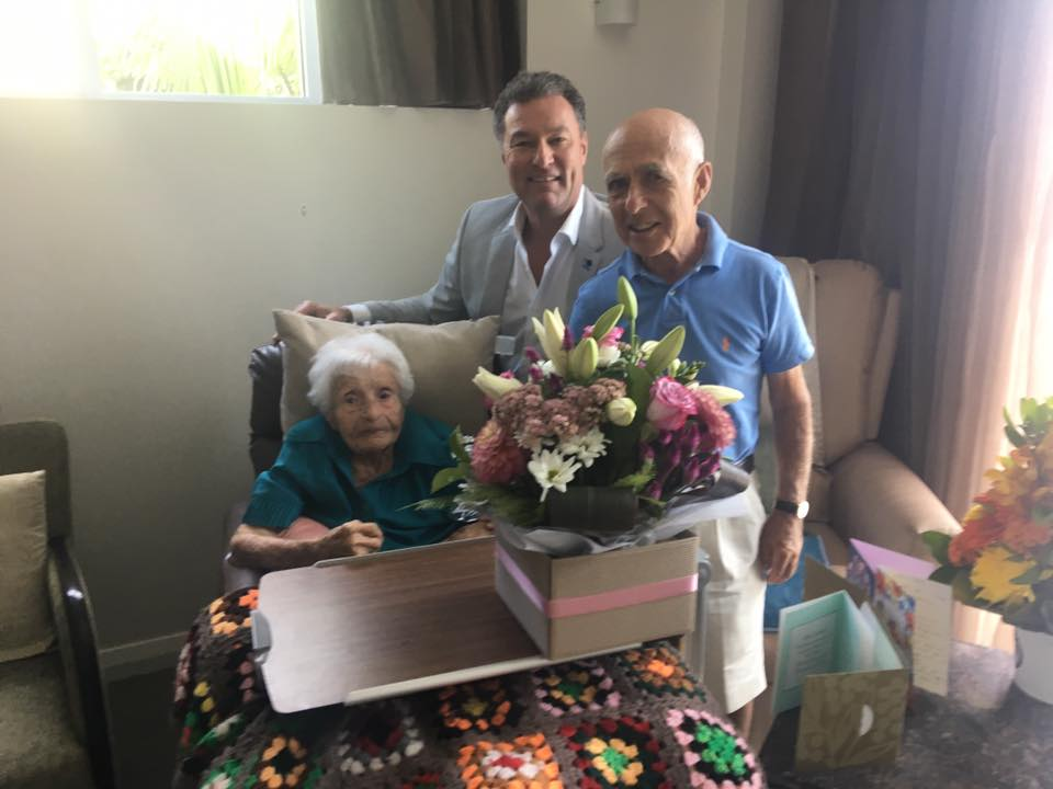 Visiting Mrs Goldberg and her son Neil to celebrate her 104th Birthday